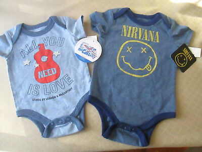 2 NEW/NWT Size Newborn & 3 - 6 months One Piece - NIRVANA & ALL YOU NEED IS LOVE