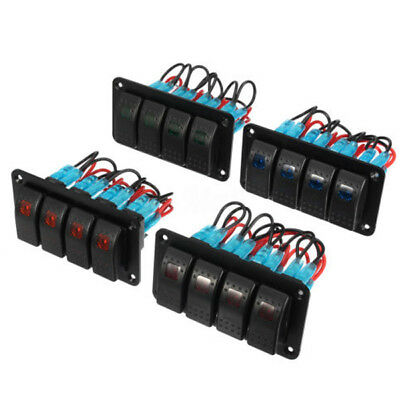 12V 24V 4 Gang Dual LED Light Bar Auto Marine Boat RV Switch Panel New Arrival
