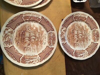 Vintage 4 Alfred Meakin Fairwinds Copper Infused Ship Collector Plates Set of4