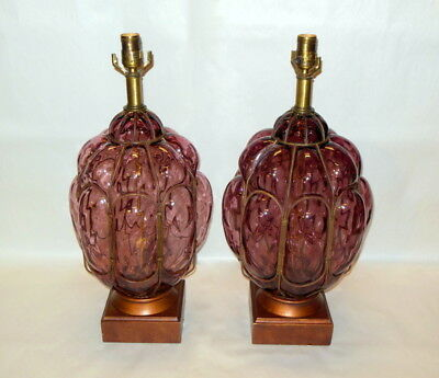 FAB Vtg MCM Pr Frederick Cooper Iron Caged Amethyst Murano Lamps Hollywood Glam