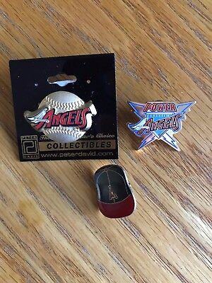 LA CALIFORNIA ANGELS HAT PIN BACK BUTTON Lapel Anaheim Stadium lot of 3