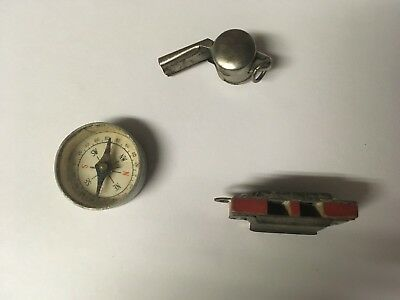 Lot of 3 Vintage Metal Cracker Jack or Gumball Prizes Whistle Compass Hamonica