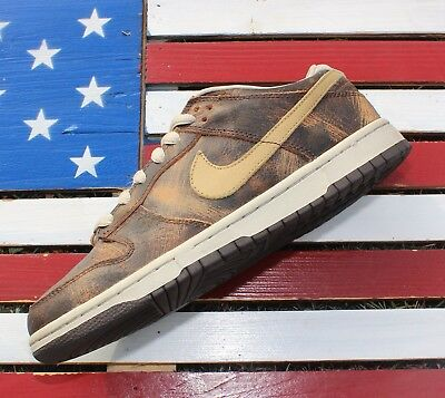 sports shoes 4390e 3290d Nike Dunk Low Premium Grunge Brown Skate Shoes VTG 2003 307696-271 Mens