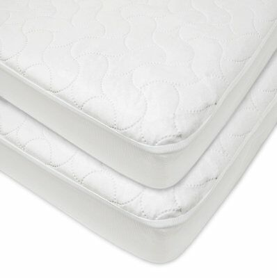 American Baby Waterproof Fitted Quilted Crib and Toddler Protective Pad Cover 2p