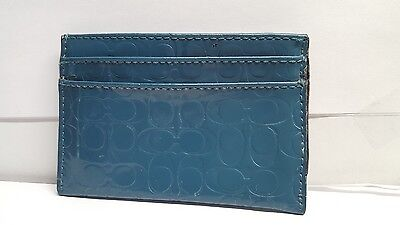 Coach Blue Patent Leather C Embossed Credit Card Case Holder