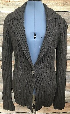 MNG by Mango Womens Size Large Cardigan Sweater Gray Cable Knit Wide Collar 721b457d4