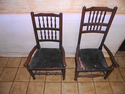 Two Antique Pre' 1800 English Wooden Chairs.