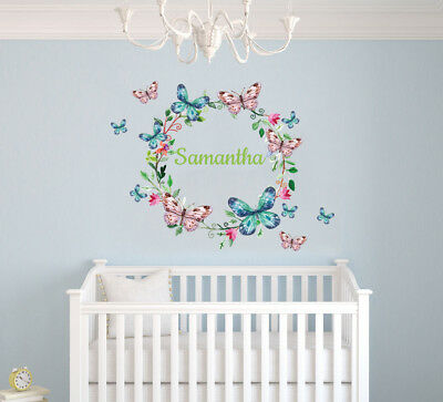 Custom Name Cute Butterflies - Baby Girl Nursery Wall Decal Decor - Butterfly