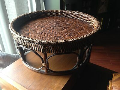 Vintage Wicker Foot Stool With Double-Sided Cushion