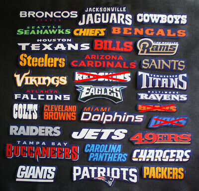 All NFL Names of Teams 3 Patches Sew-On Iron-On Logo Craft Appliques Cotton