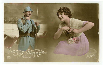 WWI ww1 First World War One 1 French SOLDIERS SWEETHEART tinted photo postcard