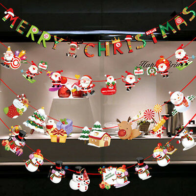 Merry Christmas Banner Felt Christmas Santa Flags Banner Hanging Xmas Decoration