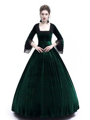 fecd17140 Victorian Dress Vintage Party Green Velvet Costumes Theater Evening  Edwardian