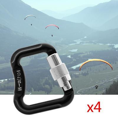 4x Abseiling Paragliding Paraglider Locking Carabiner Snap Clasp Hook 20KN