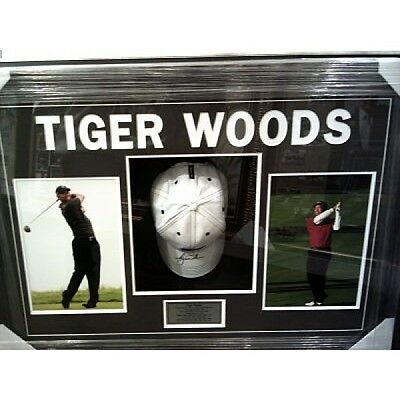 Tiger Wood Signed And Framed Golfing Cap Limited Edition World Champion