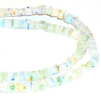 """G861f Clear w Multi-Color Flowers 4mm Square Cube Millefiori Glass Beads 15"""""""