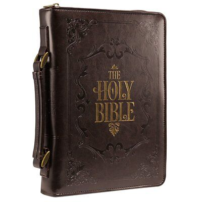 """Brown Embossed """"Holy Bible"""" Bible / Book Cover (Large)"""