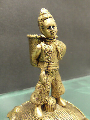 Antique VTG Brass Bronze Figural Child with Basket Match Holder