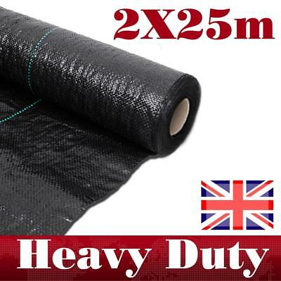 2M x25M Roll weed control fabric Landscape Mulch Garden Ground Cover Heavy duty