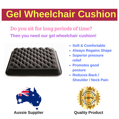Gel Cushion - Wheelchair, Scooter, Travelling - Relieves Pressure Sores, Sliding