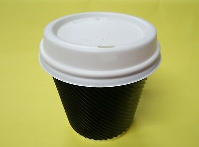 500 x 8oz Premium Triple Wall Corrugated Black Coffee Cups with White Lids