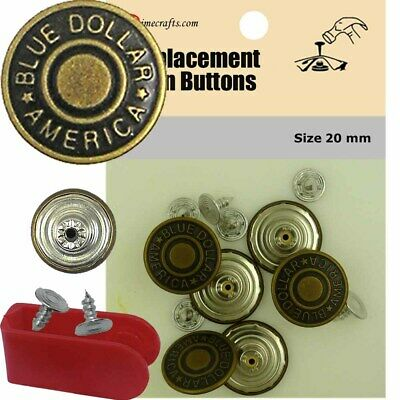 17 mm No-Sew Brass Replacement Jean Tack Buttons BCA276 6 CT.