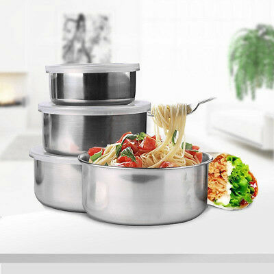 5Pcs Storage Bowl Set Stainless Steel With Lids Mixing Container Home Kitchen AU