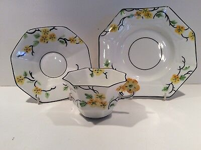 Rare Melba Bone China Flower Handle Trio
