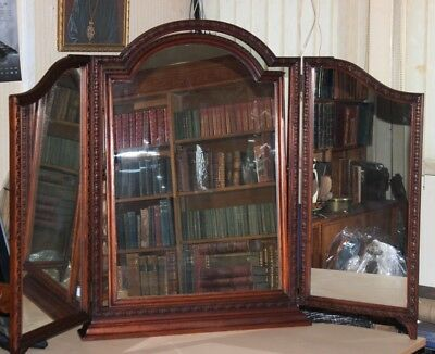 Vintage Carved Mahogany Framed Triple Dressing Table Mirror [PL3986]