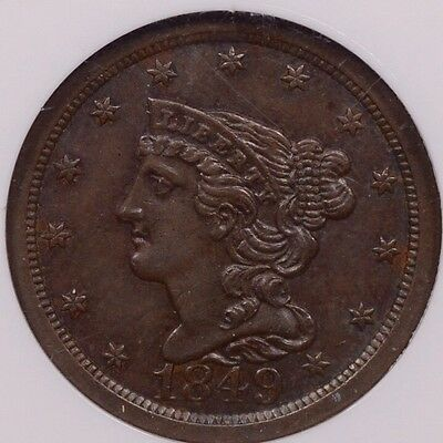 1849 Better date Half cent, NGC MS61 BN, smooth & pleasing   DavidKahnRareCoins