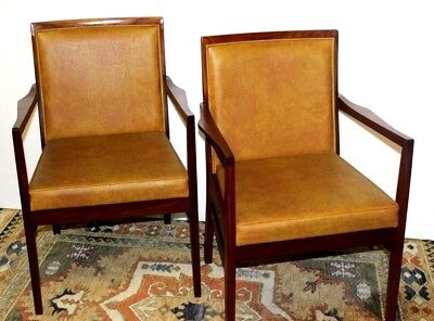 Pair of  Vintage Danish Style Mahogany Lounge Chairs - FREE Shipping [PL3988]
