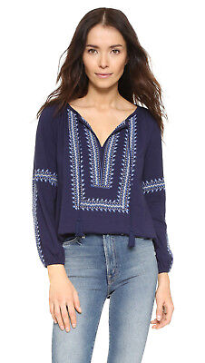 c01b55440ee450 149110 New Soft Joie Bekele Embroidered Navy Cotton Blouse Top Extra Small  XS US