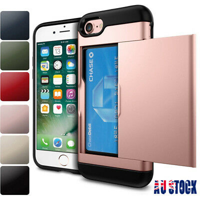 For iPhone X 8 7 6 Plus Hard Hybrid Armor Case Cover With Slide Card Slot Holder