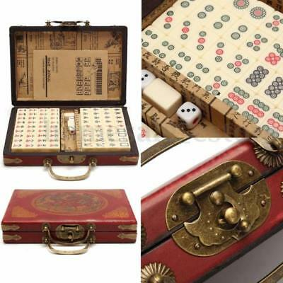 Portable Vintage Mahjong Box Rare Chinese 144 Tiles Mah-Jong Set In Leather Box