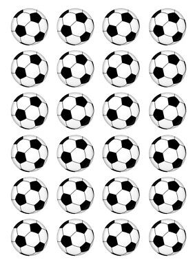 24 Soccer Ball 4cm round cupcake edible images