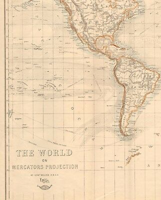 1863  Large Antique Map - Dispatch Atlas- The World On Mercator's Projection