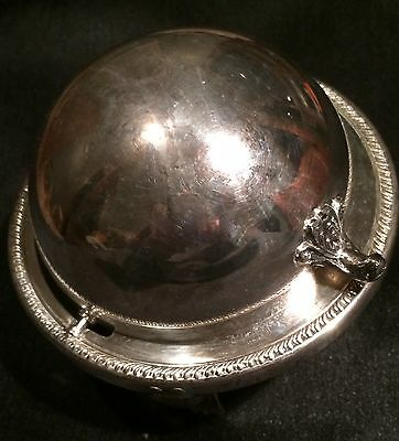Vintage B Rogers Silver Co #172 Butter Silver on Copper Dome Dish with Glass