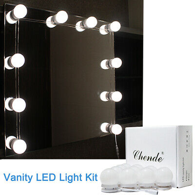 Hollywood Vanity Led Light Kit For Makeup Mirror With 10 Dimmable Bulbs Uk Plug