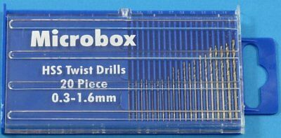 Jewellers or Modellers Micro Mini Drill Set 20 Piece Set 0.3mm to 1.6mm Boxed