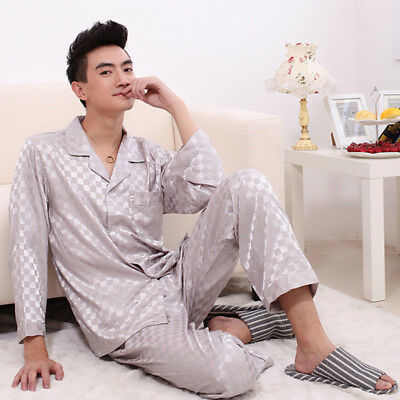 Gifts NEW Mens Silk Satin Pajamas Pyjamas Set Sleepwear Set Loungewear E003 M L
