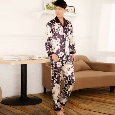 Gifts NEW Mens Silk Satin Pajamas Pyjamas Set Sleepwear Set Loungewear E004 M L