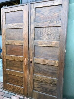 Ar 81 Matched Pair Antique Flat Panel Oak Pocket Doors With Rollers 61 X 83.5