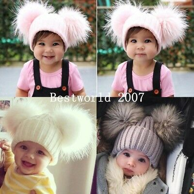 Baby Kids Child Fur Double Pom Pom Hat Winter Warm Knit Bobble Beanie Cap UK
