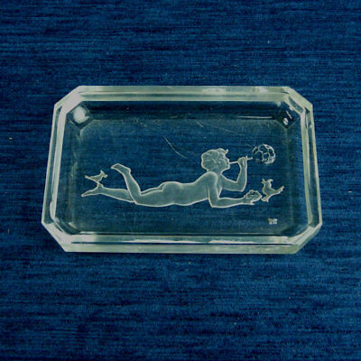 Art Deco Baccarat French Glass 'girl Blowing Bubbles' Dish C.1930