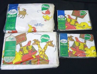 Vintage 70s NOAHS ARK Biblical Twin Bedding Sheets Flat/Fitted Pillowcases NOS