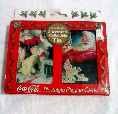 Coca Cola Nostalgia Christmas playing cards 2 sealed decks in Tin 1996 limited