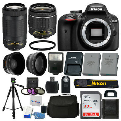 Nikon D3400 Digital SLR Camera 32GB 4 Lens Kit + Extra Battery + More Best Value