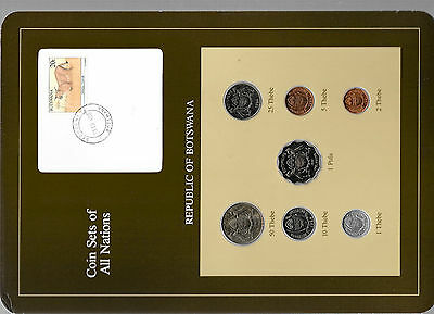 Coin Sets of All Nations Botswana w/card UNC 1981 & 1984 Caracal stamp
