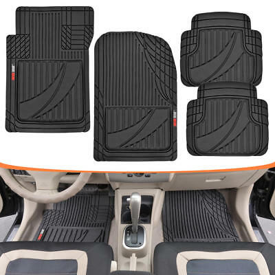 FlexTough Performance Plus Rubber Floor Mats Black Heavy Duty for Car 4pc Set
