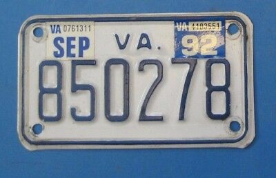 1992 Virginia Motorcycle License Plate